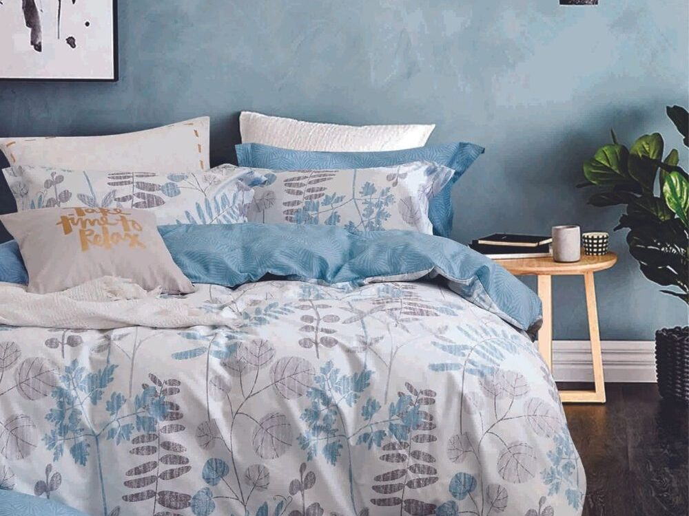 Home 928tc Combed Cotton Printed Bed Set Hyacinth